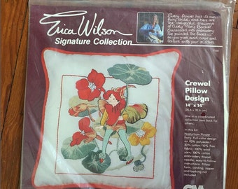 Vintage Crewel, Vintage Pillow Kit, Crewel Pillow Kit, Erica Wilson, Nasturtium Flower Fairy, Vintage Fairy, Vintage Nasturtium, NOS