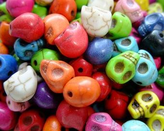 Destash (16) Mini Multi Rainbow Stone Skull Beads, day of the dead - for pendants, bracelets, jewelry making, crafts, scrapbooking