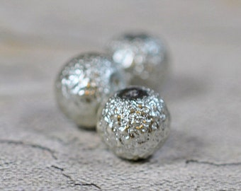 Silver color textured beads, round, 10mm, #307