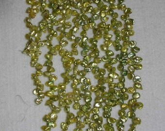 Pearl, Freshwater Pearl, Mini Flake Pearl, Lime Green Pearl,  Genuine Pearl, Loose Pearl, Top Drilled Pearl, Strand, 6-9mm, AdrianasBeads