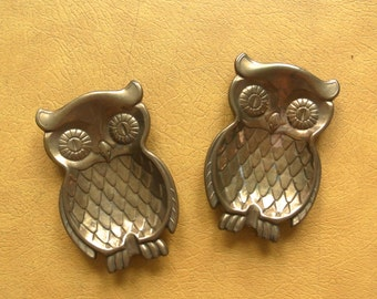 Vintage Brass Owls - Set of Two Owl Ash Trays - Vintage Owl Decor