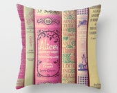 Alice in Wonderland, Throw Pillow, Books Pillow, Fine Art Photography, Photo Pillow, Book Spines, Pink, Bedding, Couch, Read, Fairy Tales