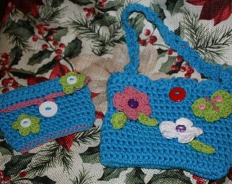 Hand Crocheted Purse and Change Purse