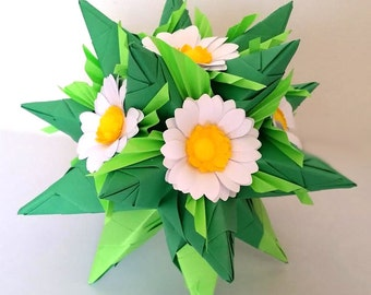 3d origami kusudama Tornillo with daisies, table decoration