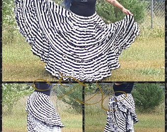 25yd Tiered Cotton Black and White Striped and Polka Dot Skirt