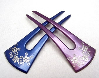 Vintage hair prong hair pick hair comb hair pin hair accessory celluloid comb choice of blue, purple or blue/purple mix
