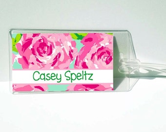 Roses Personalized Luggage, Backpack or Diaper Tag