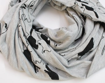 Cat Stampede Cotton Jersey Infinity Scarf White Stripes and Black