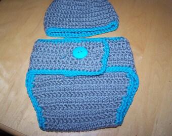 Aqua Gray Hat Diaper Cover Set Photography Prop