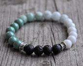 Ombre Teal Diffuser Bracelet-Diffusing Lava Bead Stretch Bracelet for Essential Oils