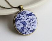 Cobalt Blue Necklace, Blue and White Wedding, Royal Blue Bridesmaid Jewelry, Lace, Anniversary Gift, Cobalt Blue Pendant, Floral, Fabric