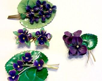 Austria Enamel Pin Brooch Earrings Austria Flower Pin Brooch Earrings Lilac pin Lilac earrings Lilac Brooch Purple