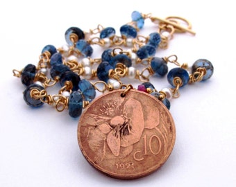 Bumble Bee - 18K London Blue Topaz Necklace with Authentic 1921 Italian Art Nouveau Coin