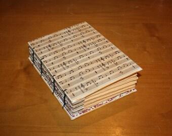 Sheet Music  Coptic Bound Journal, Music Teacher gift, Song writing journal, musical book, notes