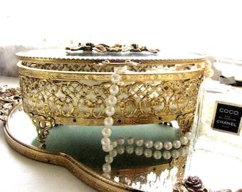 Antique Jewelry Casket Matson Ornate Ormolu Gold Filigree Oval Jewelry Trinket Box