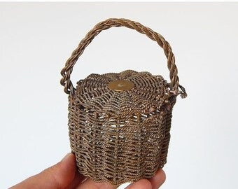 SALE 20% metal woven basket vintage french small basket
