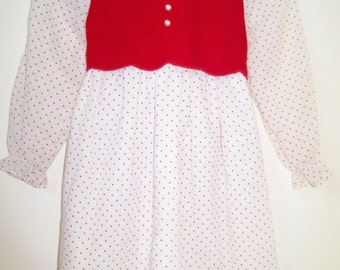 Vintage Girls Dress - Size 5 - Spring/Winter/Fall/Holiday - 1980s - Red & White Long Sleeve - Sandy Girls - Made in USA