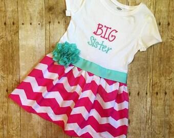 Big Sister dress, Aqua and hot pink dress, Chevron dress, Aqua chevron, Aqua and hot pink