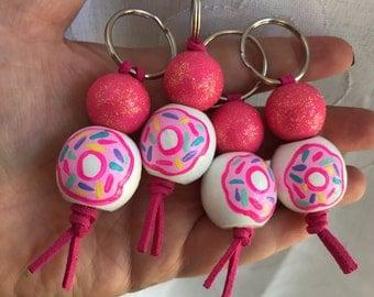 Donut keychain, hand painted keycharm zipper backpack doughnut kawaii, sprinkles, pink
