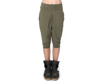 Low Crotch Shorts - Low Crotch Shorts - Baggy Shorts - Drop Crotch Shorts - Sweatpants - Olive Green - Army Green