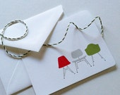 Modern Eames Chairs Christmas Holiday Boxed Notecards
