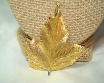 MONET Vintage Gold Tone Leaf Pin.