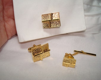 1960s Rectangular  Gold Tone Etched Cufflinks and Tie Tack.