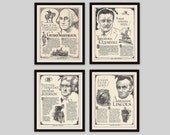 Any 4 Historical Biographies, Set of 4, Vintage Art Print Set, History Print, Science Art, Literary Print, Black and White Art, Man Cave Art
