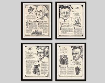 Any 4 Historical Biographies, Set of 4, Vintage Art Print Set, History Print, Science Art, Literary Print, Black and White Art, Man Cave Art