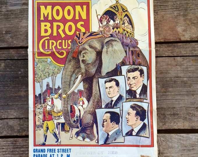 1920s Moon Bros Vintage Circus Poster