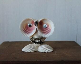 Vintage Owl Made of Shells // Curacao // Shell Owl Collectible // Souvenir Owl