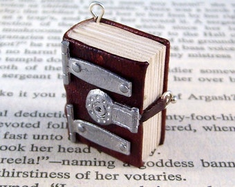 Miniature Book Necklace Charm Lock and Hinged Thick Book Brown