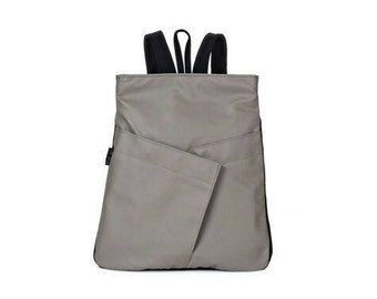 Vegan light grey gray Backpack, Everyday Backpack, comfortable stylish purse, faux leather, cruelty free - Origami inspired