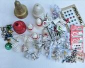 Large Lot of Vintage Christmas Bells, Plastic, Metal, Glitter, Jingle Bells