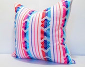White Pillow, Tribal Pillows Covers, Colorful Pillow Covers, Bohemian Decor, Boho Bedding, Mexican Cushion, Square, tribal pillowcase