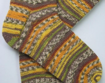 hand knitted mens wool socks, UK 9-11 US 10-12, gift for men, mens wool socks, large socks, striped socks, brown green socks, handknit mens
