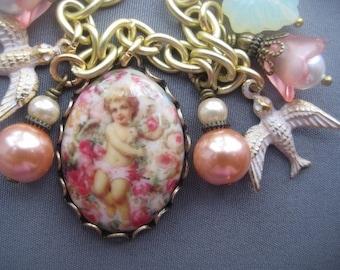 Charm Bracelet - Cameo Bracelet - Cherub Jewelry - Victorian Jewelry - Angel Jewelry - Pastel Jewelry - Angel Bracelet - Victorian Bracelet