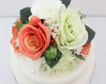 Wedding Cake Topper - Coral, Light Green and White Rose Silk Flower Cake Topper, Wedding Cake Flower, Peach Echo Wedding Cake Topper