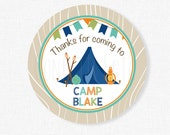 Camping Favor Tags, Camp Gift Tags,  Thank You Tags, Camping Tag, Boy Birthday Favors, Personalized
