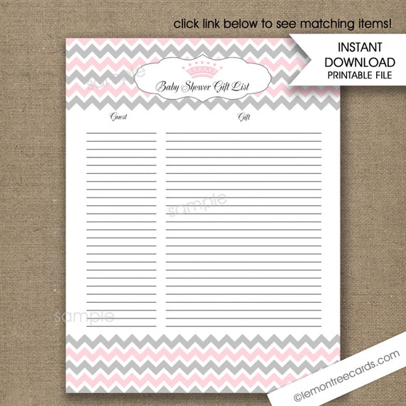 Baby Gift List Uk : Pink princess crown baby shower gift list instant download