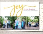 """Photo Christmas Card, Holiday Card, Modern Christmas card, Photo, Christmas card: PRINTABLE (""""Joy 3 photo"""" Christmas custom card)"""