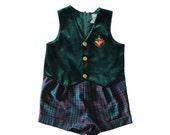 BLOWOUT 40% off sale Vintage 90s Nautical Baby Romper Green Velvet Plaid Shorts - boys girls 18 months