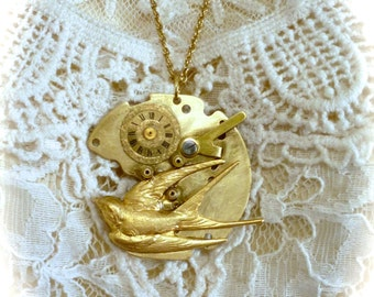 Steampunk Pendant Necklace Vintage Watch Plate with Swallow