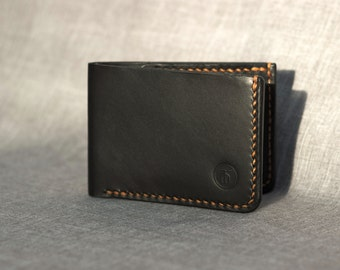 Handcrafted Billfold Wallet - t. 105 Black Bridle/Orange