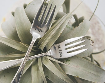 I DO, ME TOO Vintage Wedding Cake Forks (Matching Set)