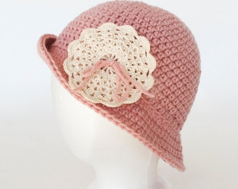 Soft Rose Crocheted Cloche  Hat