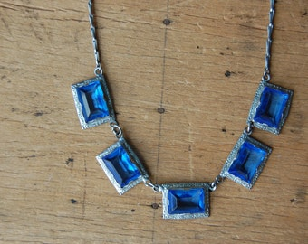 Art Deco 1930s blue glass panel necklace with flower detail