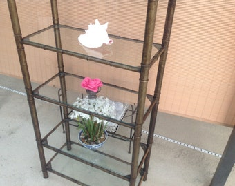 FAUX BAMBOO ETAGERE  Hollywood Regency Metal Etagere / Over 6 Feet Tall with 6 Shelves at Retro Daisy Girl