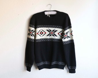 1970s Winter Snowflake Ski Sweater Black