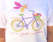 Let The Good Times Roll  Short Sleeve Ladies V-Neck Tee Queen Bee on a Bike  Beach Shirt T shirt